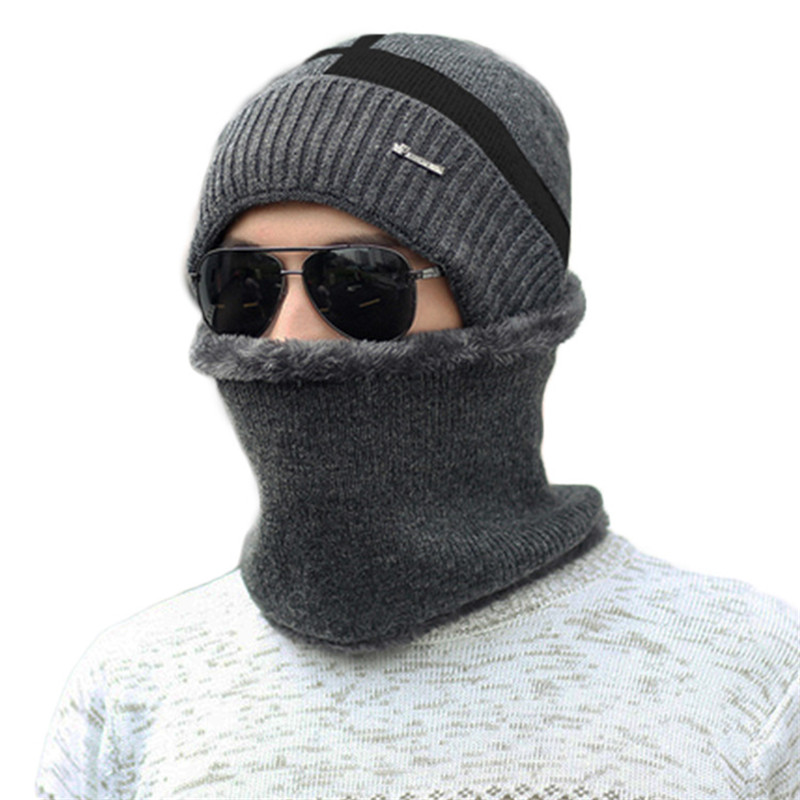 Hot Selling Ski Cap Scarf Set Warm Cotton Winter Hat Neck Scarf For Women Men Knitted Hat Bonnet Warm Cap Skullies Beanies