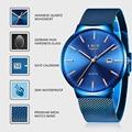 LIGE 2019 новые мужские часы Топ люксовый бренд мужские модные синие кварцевые наручные часы спортивные водонепроницаемые часы для мужчин Relogio ...