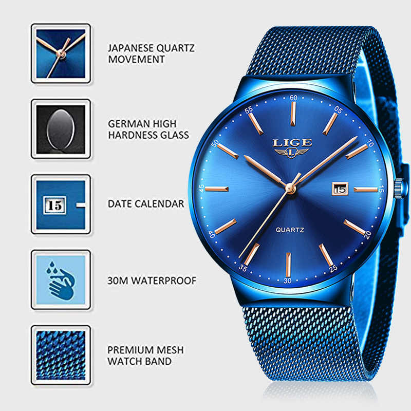 LIGE 2019 New Mens Watches Top Luxury Brand Man Fashion Blue Quartz Wrist Watch Sport Waterproof Watch For Men Relogio Masculino