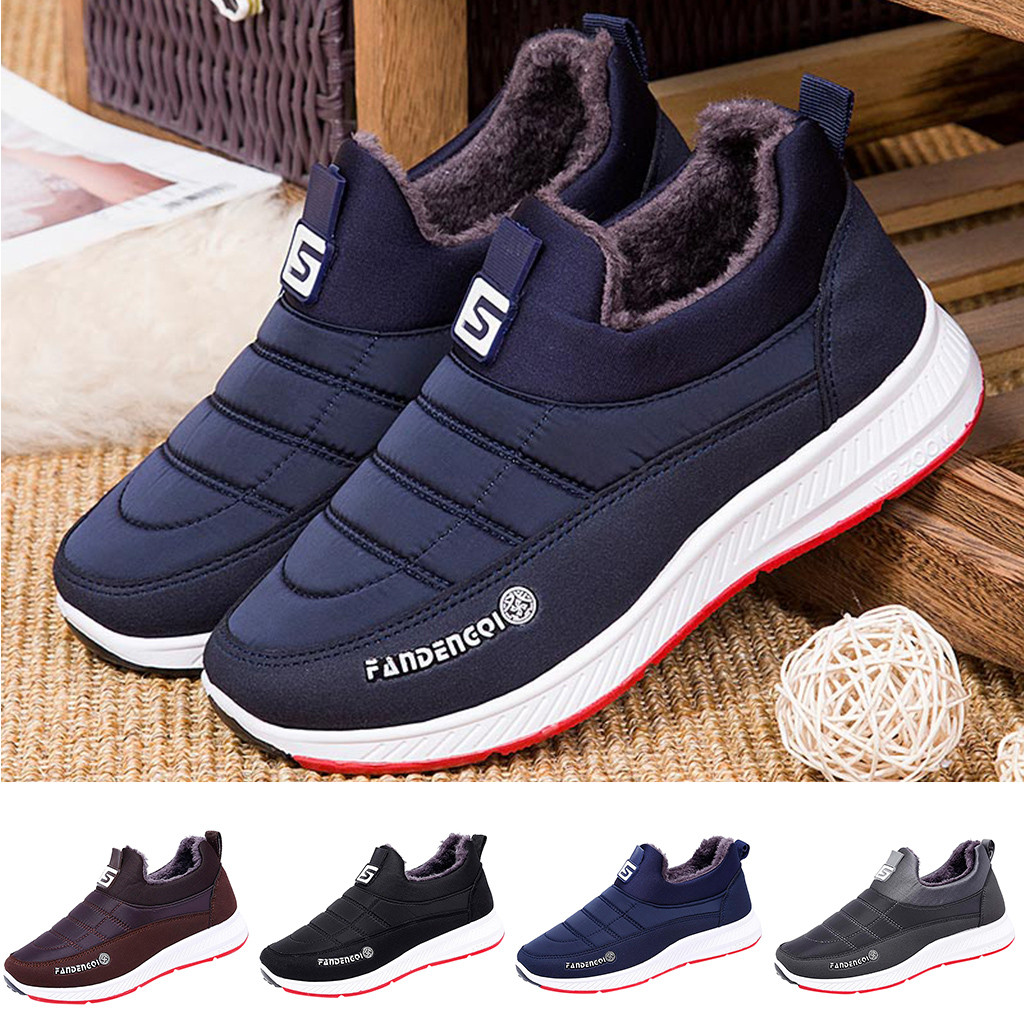 Man's Winter Non-slip Cotton Plus Velvet Shoes Boots Home Casual Fashion Warm Slip On Round Toe Shoes Short Ankle Boots Shoes