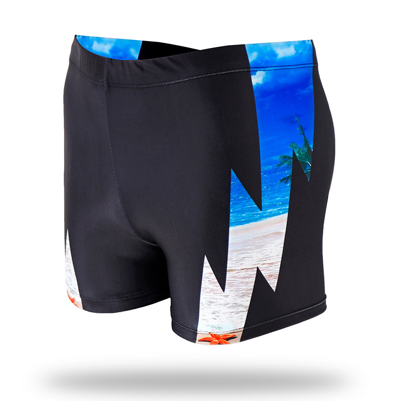 New Style MEN'S Swimming Trunks Cool Printed Slim Fit Boxer Comfortable Beach Swimming Plus-sized Shorts