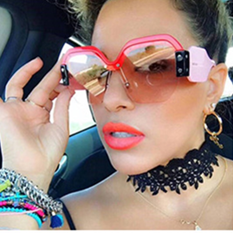 Sexy Rimless Oversized Sunglasses Women Vintage 2019 Red Pink Luxury Brand Sun Glasses For Female Rivet Big Frame Male Shades