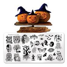 6*12cm warstwa do zdobienia paznokci Halloween czarownica duch oczy śmieszne Bat dynia obraz szablon szablon tłoczenia paznokci formy do paznokci