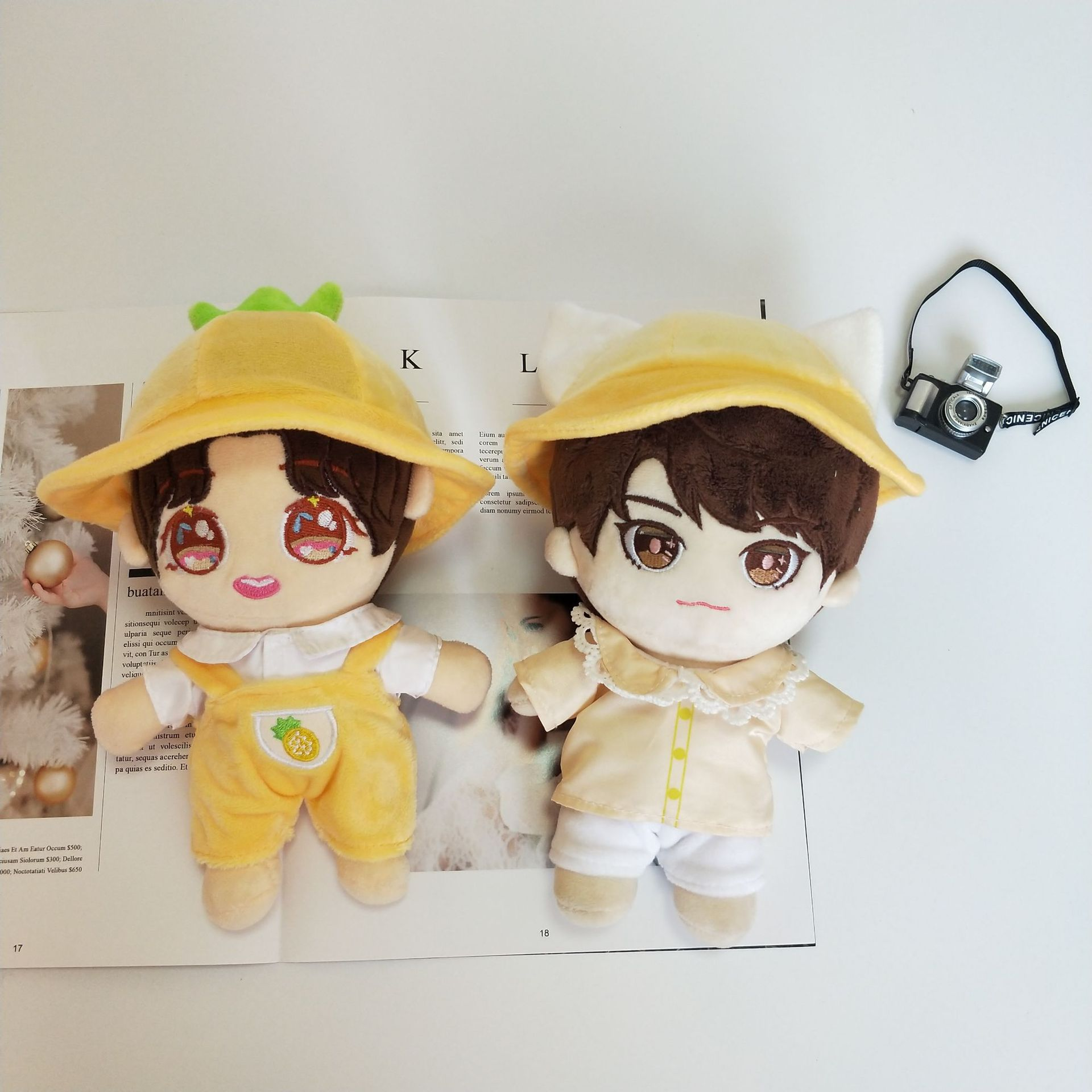 [MYKPOP]KPOP Clothes: Lovely Pineapple Hat and Overallst for 20cm Dolls (without Doll) KPOP Fans Collection SA20062208(China)