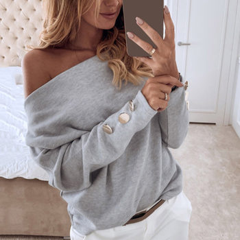 Women Tops Solid Color Casual Off Shoulder Top Long Sleeve Women's Button Shirt Top Blouse Plus Size Women solid color cold shoulder all match casual women solid color o neck long sleeve cold shoulder holes plus size blouse hot sales
