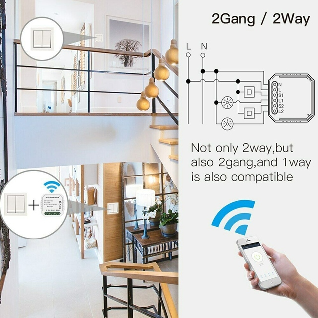 3 Pack 2 Gang 2 Way Wifi Smart Light Switch DIY Dimmer Module Smart Life/Tuya APP Remote Control Mini Wall Socket Outlet