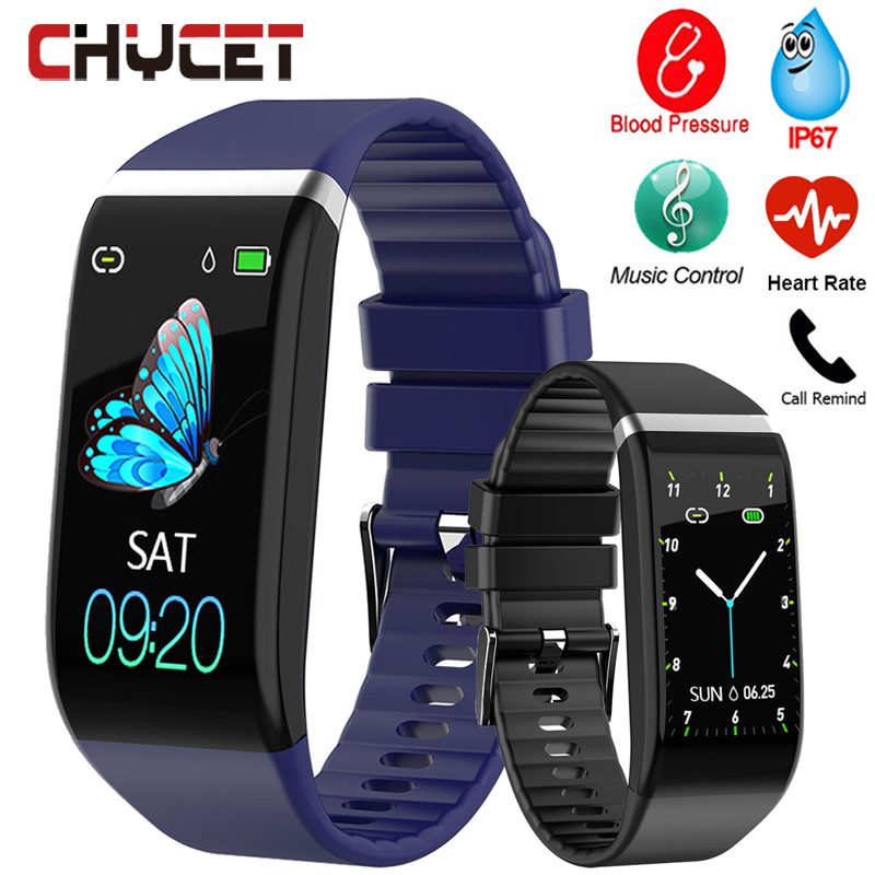Smart Band Blood Pressure 1.14'' Screen Fitness Tracker Watch Heart Rate Fitness Bracelet Waterproof Music Control For Men Women