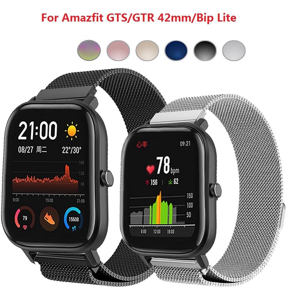 Металлический Миланский ремешок для часов для Xiaomi Huami Amazfit GTS/GTR 42 мм/Bip, Модный женский и мужской браслет, смарт-часы, аксессуары