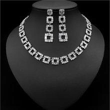Новые роскошные квадратные вечерние серьги из циркона ожерелье