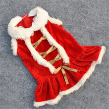 Красное рождественское платье для собак Одежда питомцев костюмы