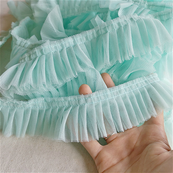 5cm Wide Color Mesh Fabric Folds Organ Lace Ribbon DIY Skirt Clothes Neckline Edge Sewing Accessories Dolls Clothing Decoration