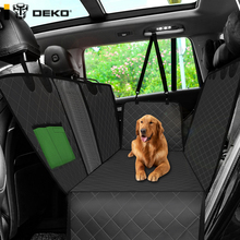 DEKO Dog Car Seat Cover Rear Back Mat Cushion Mesh Pet Carrier Hammock Cushion Protector With Zipper and Pocket For Pets Travel