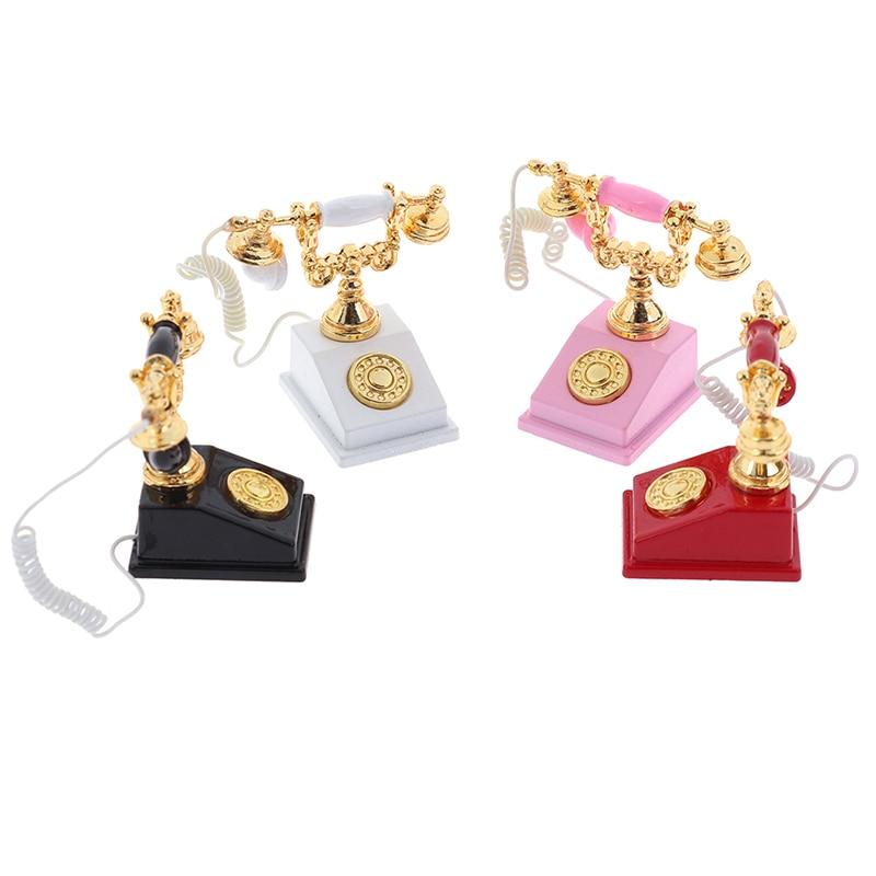 1:12 Miniature Phone Model Alloy Vintage Retro Rotary Telephone Dollhouse Decoration Accessories