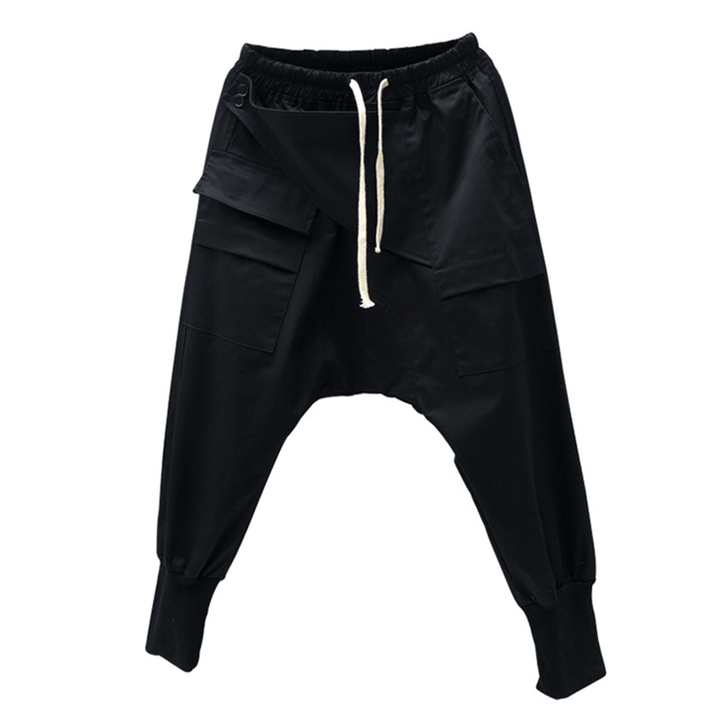 Japanese Men Leggings Pants Loose Pockets Drawstring Harem Pants Gothic Darkness Owen Style Oversize Streetwear Jogger Elastic