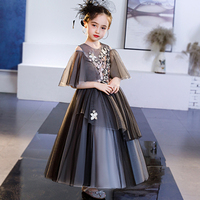 Free ship children's girls black veil embroidery lace princess gown stage costume lace flower renaissance gown dress Halloween
