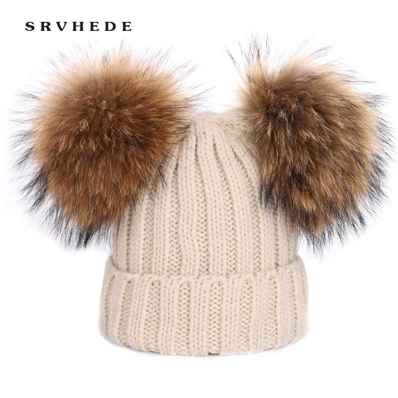 Women's 2019 Two Pom Poms Real Mink Fur Pompom Hat Women Winter Caps Knitted Wool Hats   Skullies     Beanies   Bonnet Girls Female Cap