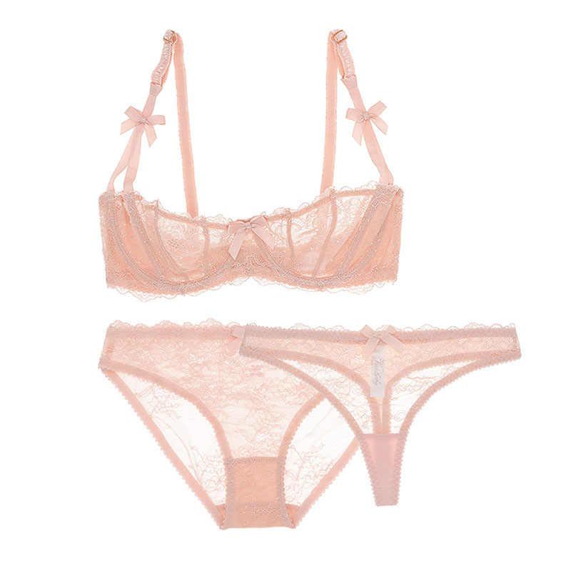 Varsbaby сексуальный комплект нижнего белья без подкладки с получашечками, прозрачный комплект из 3 предметов, бюстгальтеры + трусики + стринги, комплект с бюстгальтером для женщин