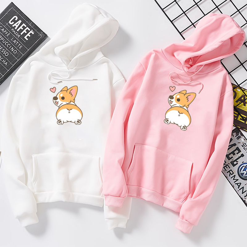 Autumn Cute Corgi Dog Women Sweatshirt Funny Animal Poleron Mujer Large Size Letter Printed Femme Cartoon Tops Hoodie Pullovers