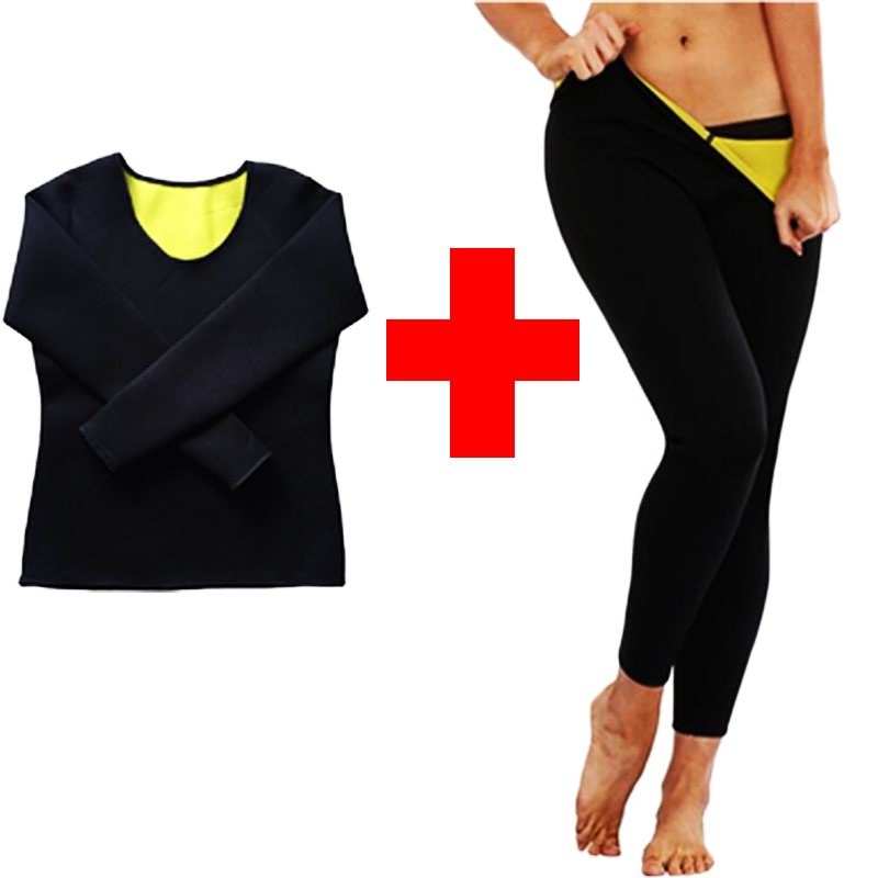 LAZAWG Women Sauna Weight Loss Sweat Shirts Fashion Design Slimming Neoprene Hot Body Shaper Leggings Suits Hot Sweat Pants SetsControl Panties   -