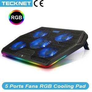 Image 1 - TeckNet الألعاب مبرد كمبيوتر محمول دفتر لوحة التبريد 5 RGB LED المشجعين قوية تدفق الهواء قابل للتعديل لوحة التبريد لأجهزة الكمبيوتر المحمول 12 17 بوصة