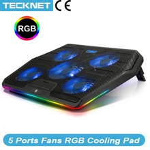 TeckNet Gaming chłodzenie laptopa Notebook podstawka chłodząca 5 wentylatory LED RGB mocny przepływ powietrza regulowana podstawka chłodząca do laptopa 12 17 cali