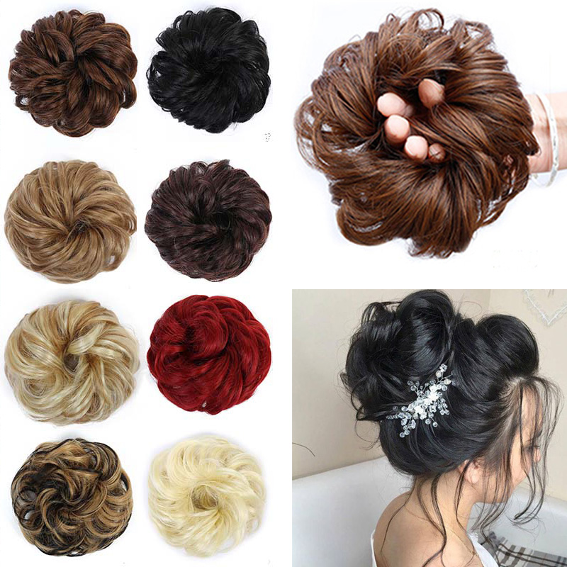 Lupu Curly Flexible Hair Bun Donut Synthetic Hair Band Elastic Hair Accessories Elastic Chignon For Ponytail Extension For Women