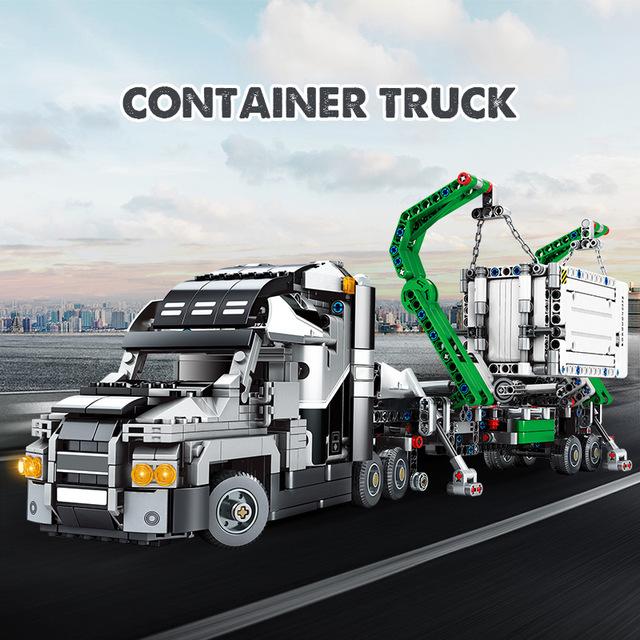 1202pcs City Big Truck Engineering Car Buiding Blocks  Technic Mark Container Vehicles Figures Bricks Toys For Children