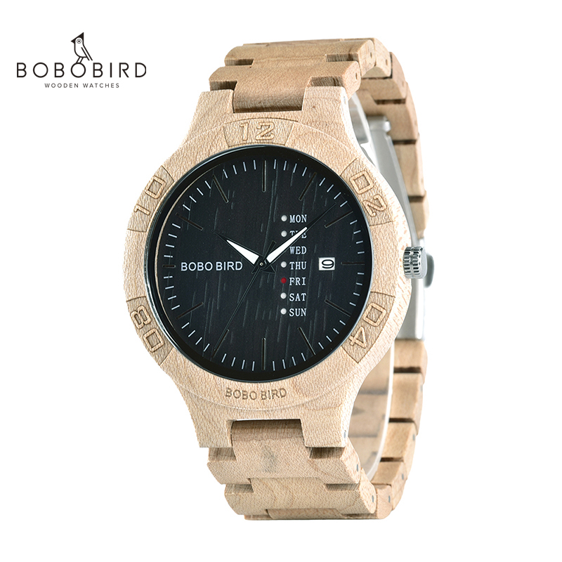 BOBOBIRD Reloj Hombre Full Wooden Watches Chronograph Date & Week Show Cronografos In Gift Box Support Dropshipping L-LS01