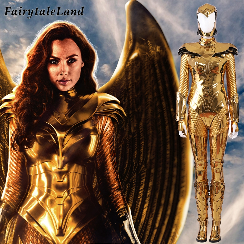 Movie Wonder Woman 1984 Cosplay Costume Carnival Halloween Superhero Costume WW84 Diana Prince Battle Suit Gold Jumpsuit