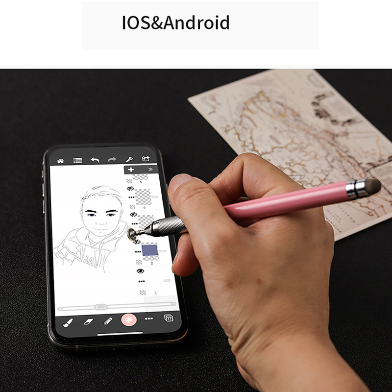 Universal Capacitive Stylus Pen For Andriod IOS Window System 2in1 Stylus Drawing Touch Tablet Pen
