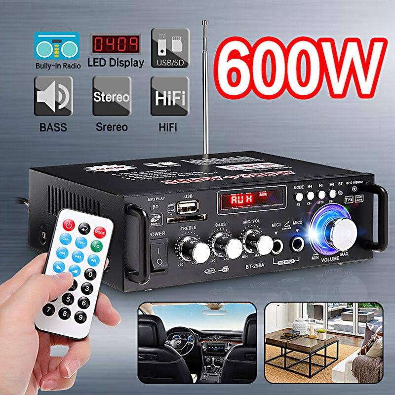 600w Профессиональный усилитель Аудио Bluetooth, усилитель Сабвуфер, звуковая система для домашнего кинотеатра