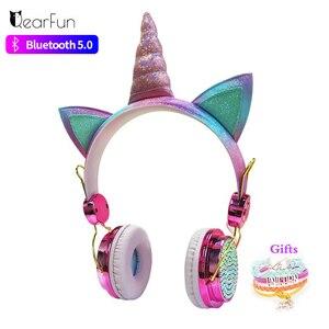 Image 1 - 귀여운 유니콘 블루투스 5.0 헤드폰 무선 여자 아이 만화 스테레오 헤드셋 내장 마이크 전화 게이머 이어폰 선물