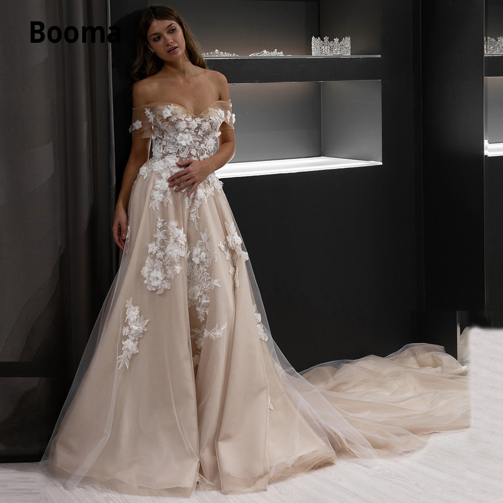 Booma Off The Shoulder Champagne Wedding Dress Lace Ivory Flowers Tulle A-line Bride Gowns Beach Sleeveless Wedding Party Gowns