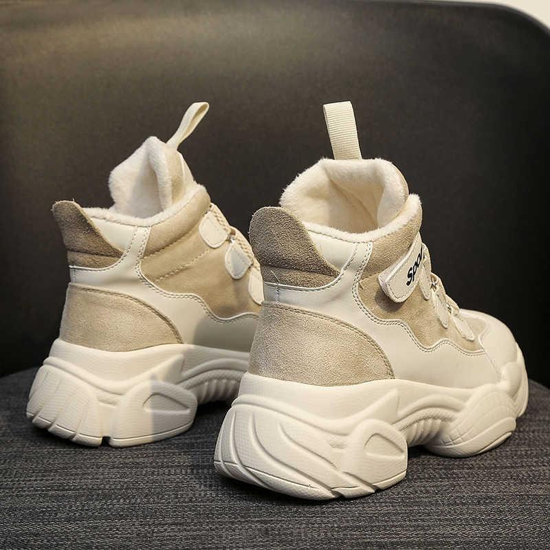 Phụ Nữ Mới Thời Trang Mùa Đông Clunky Giày Sneaker Cổ Lông Da Lộn Da Nền Tảng Sang Trọng Cao Cấp Bố Giày Nữ Đáy Dày Khởi Động