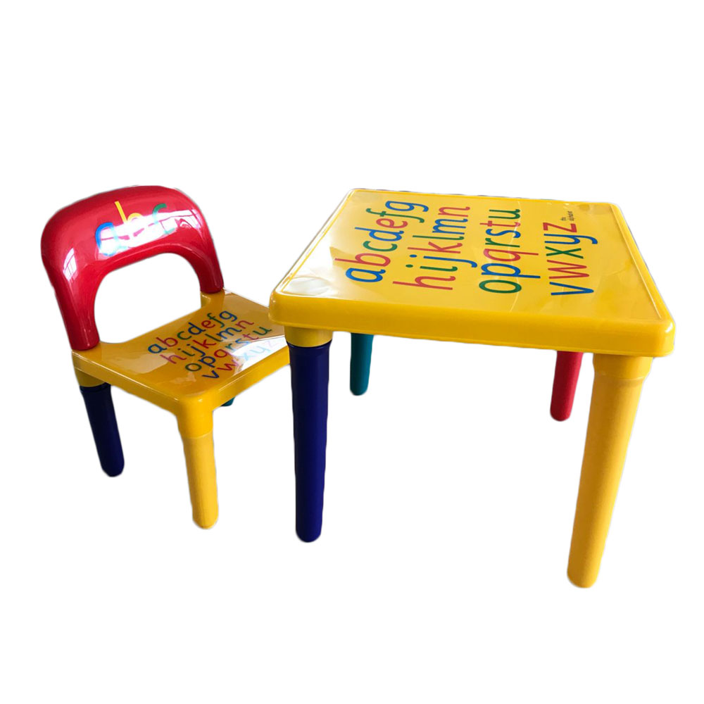 Chair Set For KidChildren Furniture Sets and ABC Alphabet Plastic Table Dinner Picnic Desk Seat Furniture (1)