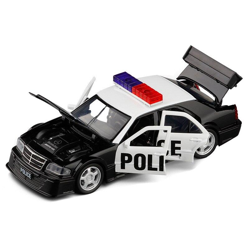 1:32 High Simulation Metal AMG C-class Police Car Alloy Car Model Realistic Siren Metal Simulation Car Model Toy Car