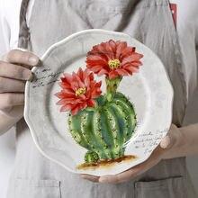 Круглая керамическая тарелка в китайском ретро стиле средняя