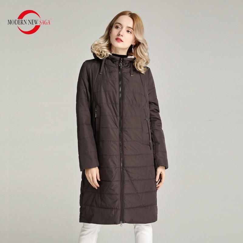 MODERN NEW SAGA 2020 Women Coat Spring Thin Padded Jacket Polyester Autumn Women Long Jacket Hooded Woman Parka Ladies Overcoat