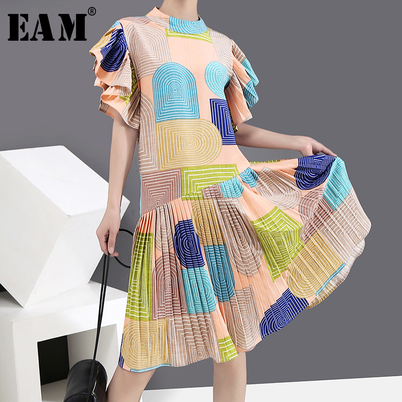 [EAM] Women Pattern Printed Ruffles Midi Dress New Stand Collar Short Sleeve Loose Fit Fashion Tide Spring Summer 2020 1Y589