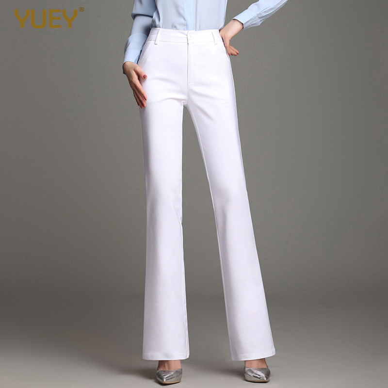 YUEY 2020 Spring New Women OL Flared Pants High Waist Large Size Cotton Stretch Flared Pants Casual White Black Trousers