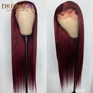 Image 3 - Prosto czerwona koronkowa peruka ludzki włos peruka głęboka część 13X4 Burgundy Remy włosy kolorowe peruka dla czarnych kobiet Preplucked 150% gęstości