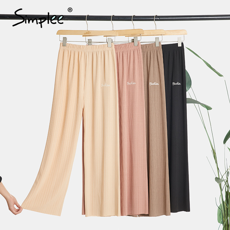 Simplee Summer Wide Leg Pants For Women Casual Solid Elastic High Waist Fashion Loose Long Pant Pleated Pant Trousers Femme 2020