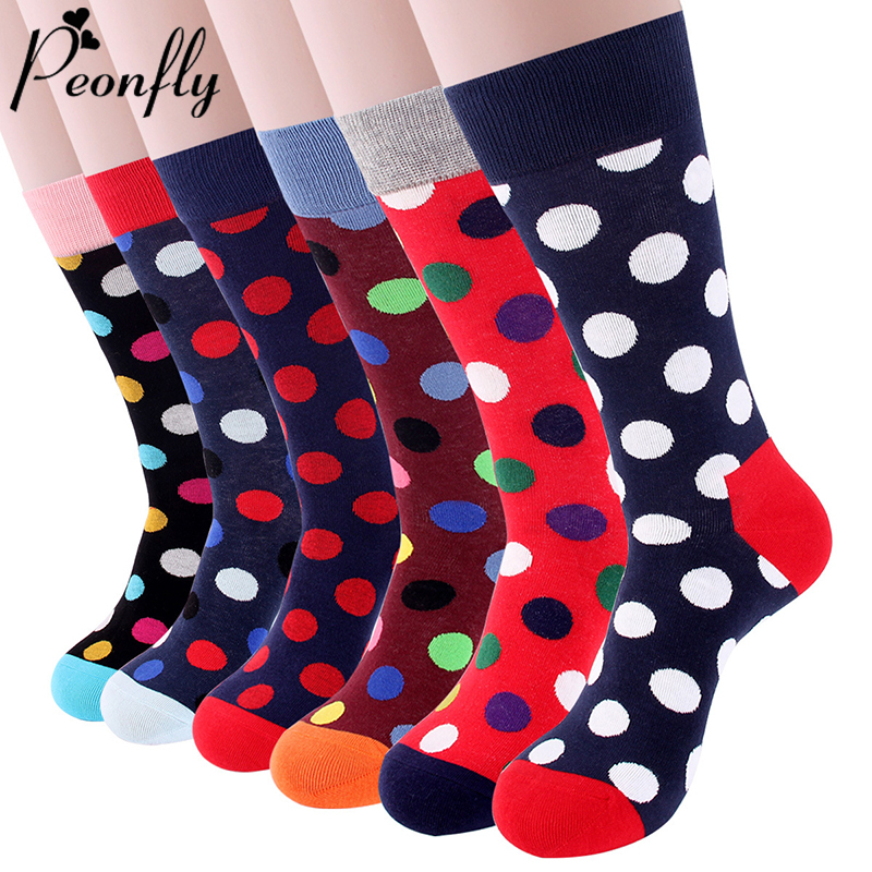 PEONFLY Classic Colorful Dot Printed Happy Socks Men Casual Combed Cotton Harajuku Socks Funny Crew Socks For Business