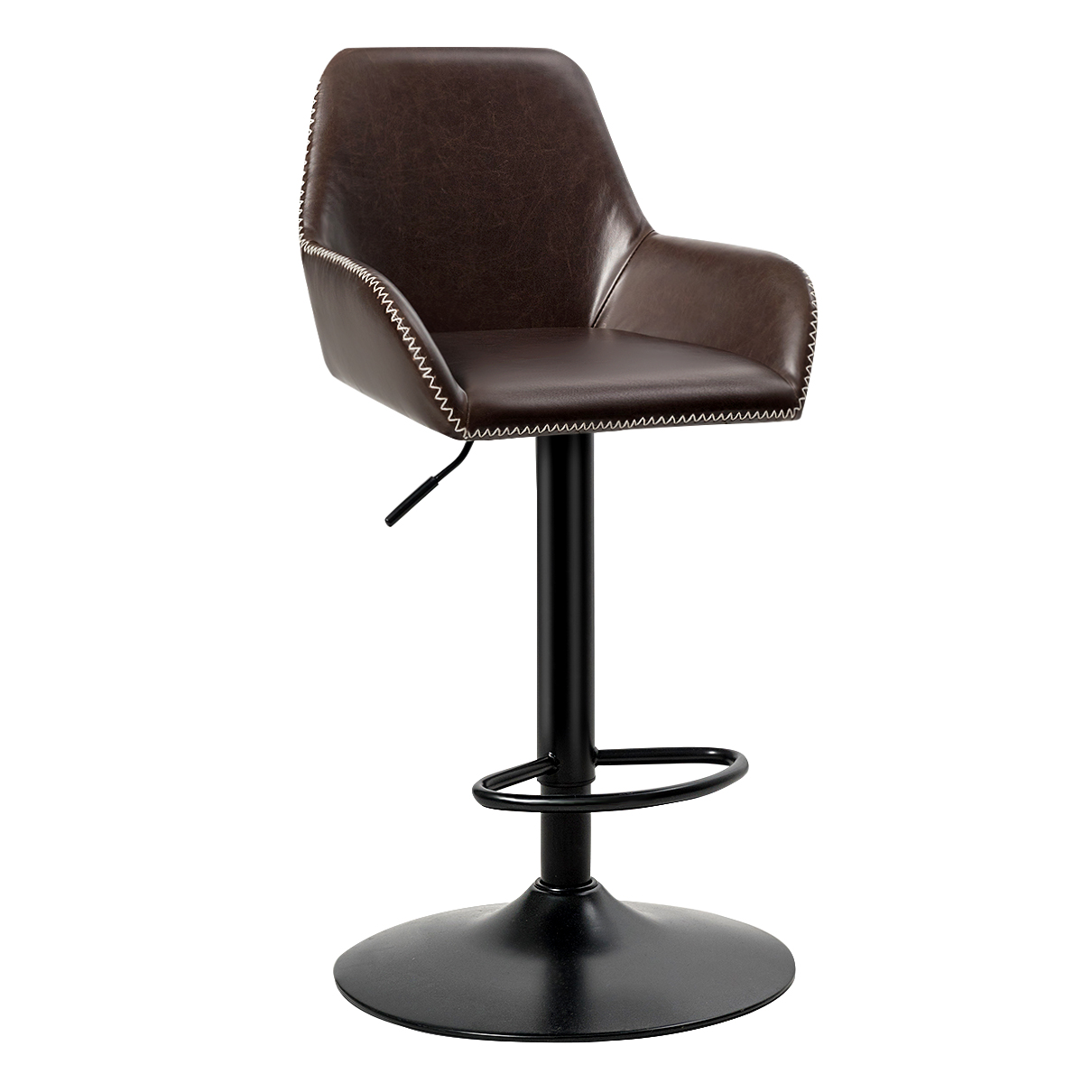 Costway Modern Retro Adjustable Swivel Bar Stool Upholstered Chair