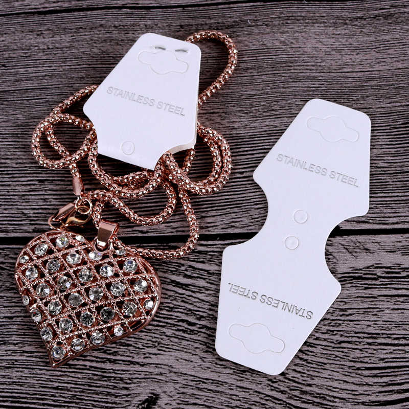 4x9.5cm 100pcs/lot White Printed Stainless Steel Jewelry Cards for Jewelry Necklace Bracelet Hairpin Packaging Hang Tags Cards