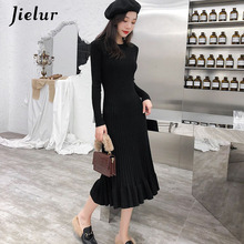 Jielur Winter O-Neck Knitted Dress Basic Solid Color Ruffles For Women Elegant Slim Korean Style OL Robe Femme Hiver 2019