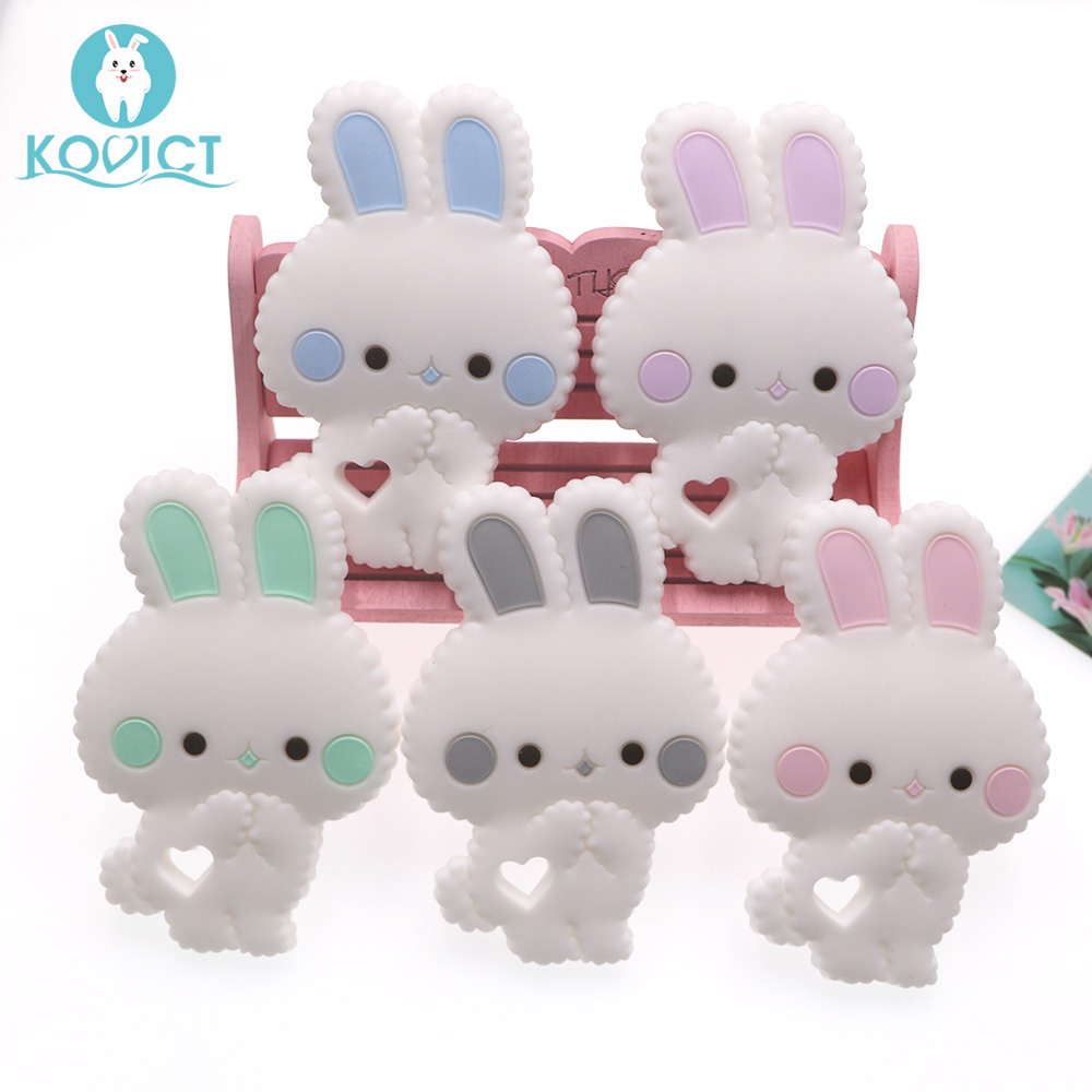 Kovict BPA Free 1PC Rabbit Silicone Baby Teether Rodent Baby Teething Toys Chewable Animal Shape Baby Products Nursing Gift