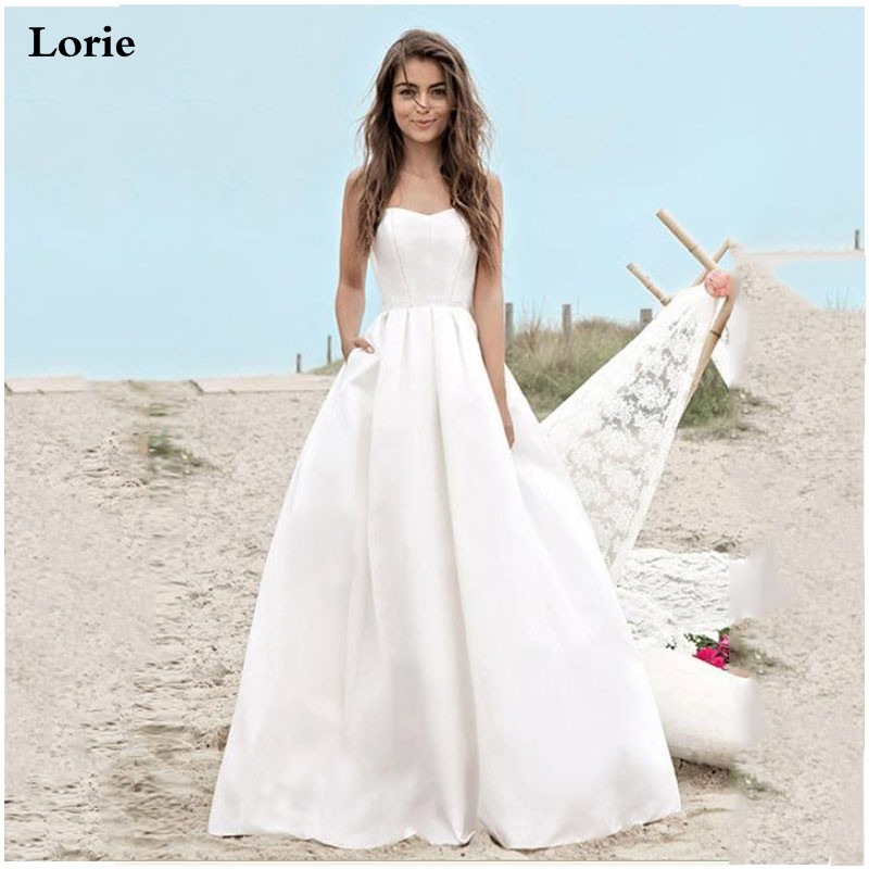 LORIE  Boho Beach Wedding Dress Simple Vintage Sweetheart Bridal Dress 2019 Satin Beach Wedding Gown Floor Length