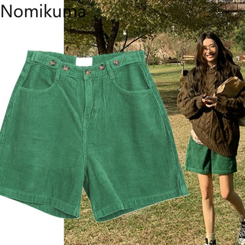 Nomikuma High Waist Shorts Solid Color Corduroy Straight Loose Short Pants Women Casual Fashion Bottoms Female Ropa Mujer 3c171 1