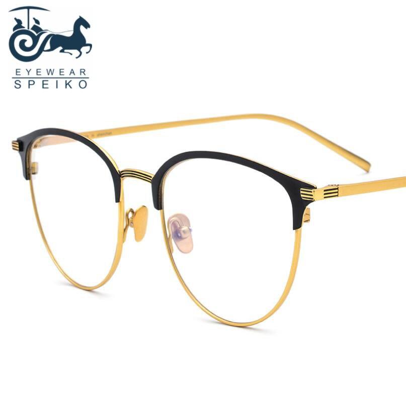 Ultralight pure titanium frames 1889 business style women men round eyewear can be myopia reading glasses 1.74 anti-blue lenses